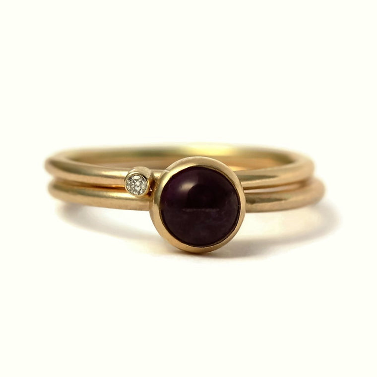 Handmade onyx and diamond two ring wild flower stack (other gemstones)