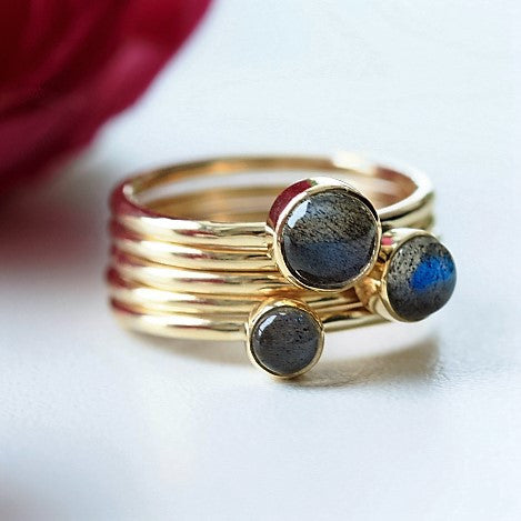 unique designer Labradorite gemstone 9ct solid gold stacking rings