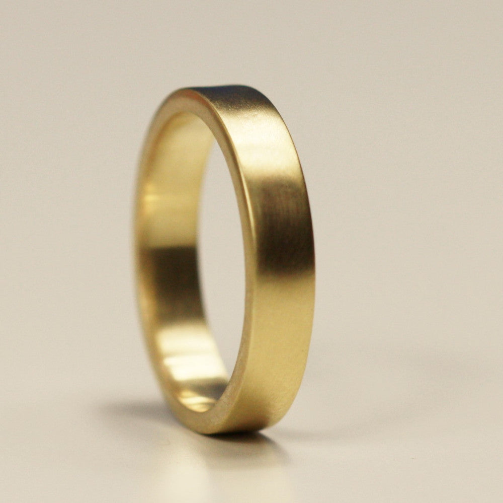 Handmade 9ct solid gold 4 mm wide flat band wedding ring