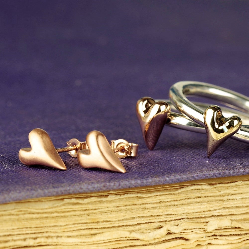 designer gold heart earrings and gold heart ring