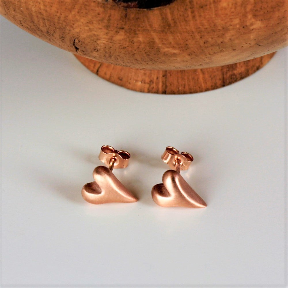 9ct rose gold wild at heart brushed finish studs