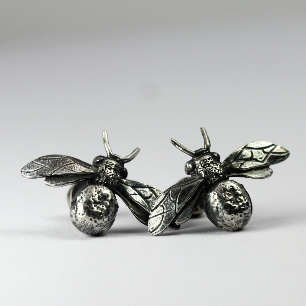 Oxidized Bee and Citrine Gemstone Handmade  Rustic Cuff links