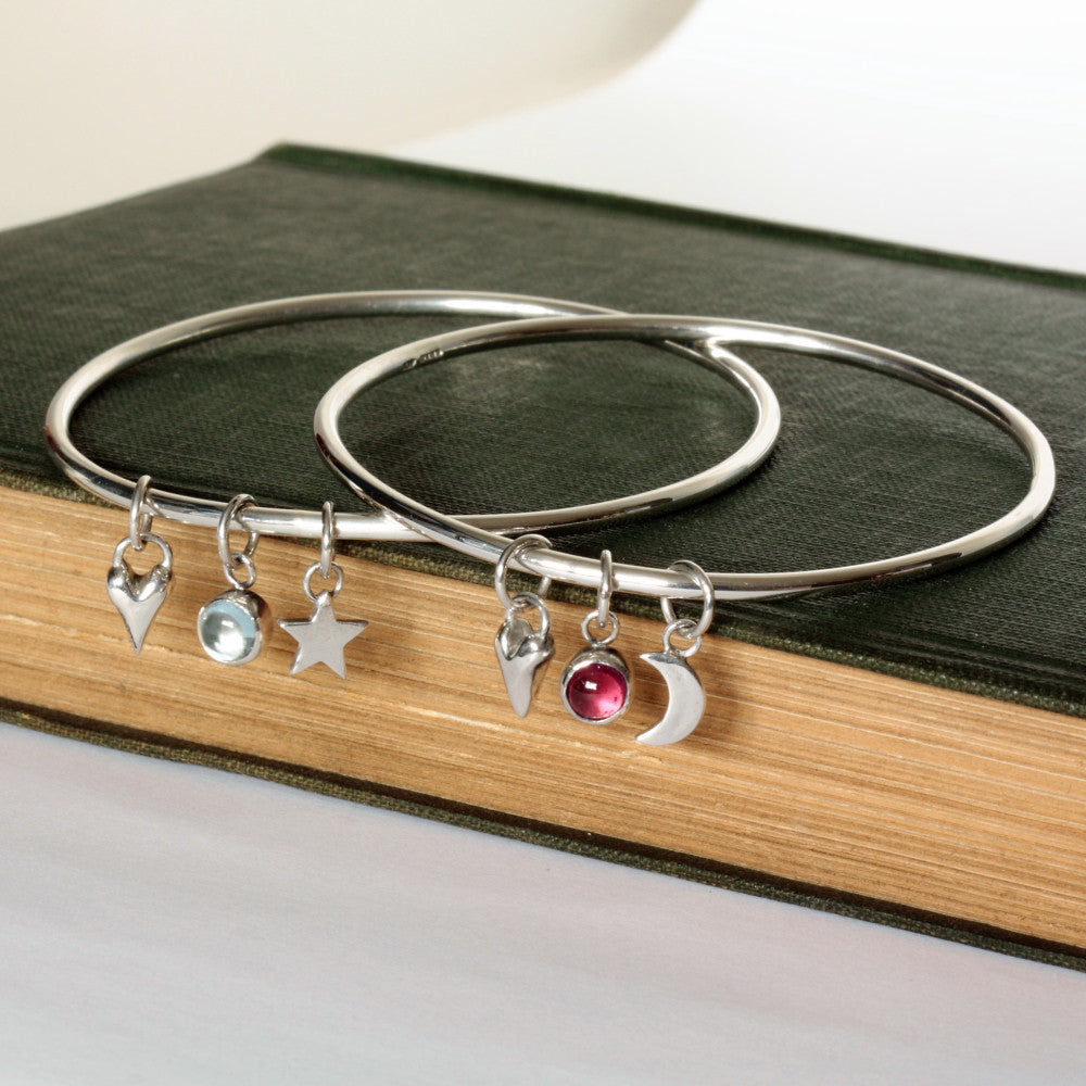 handmade moon, star, heart and birthstone silver bangle