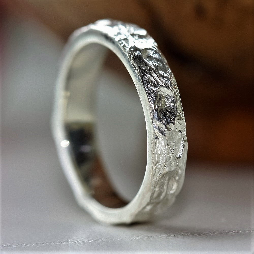 Sterling silver handmade textured unique wedding ring band