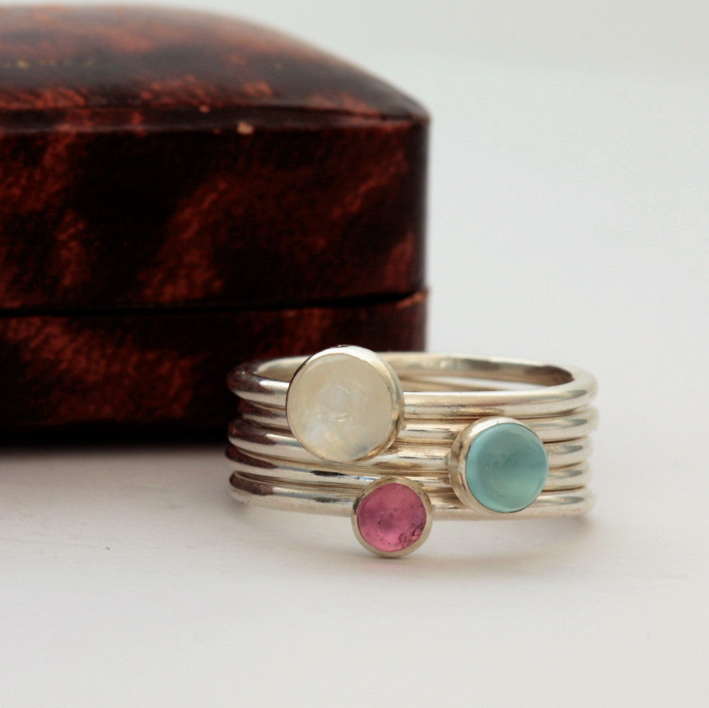 Moonstone, Pink Tourmaline and Chalcedony Stacking Rings