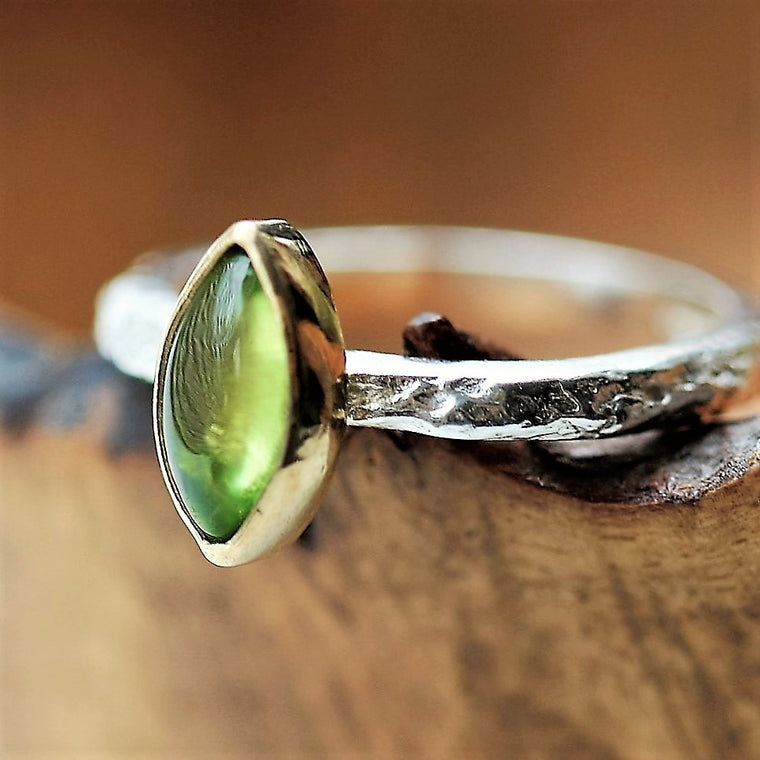 Designer peridot birthstone August silver and gold textured ring