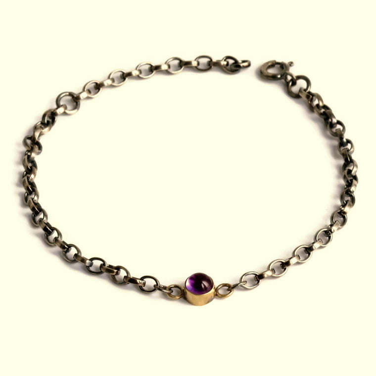 Silver and gold handmade blossom bracelet February birthstone Amethyst