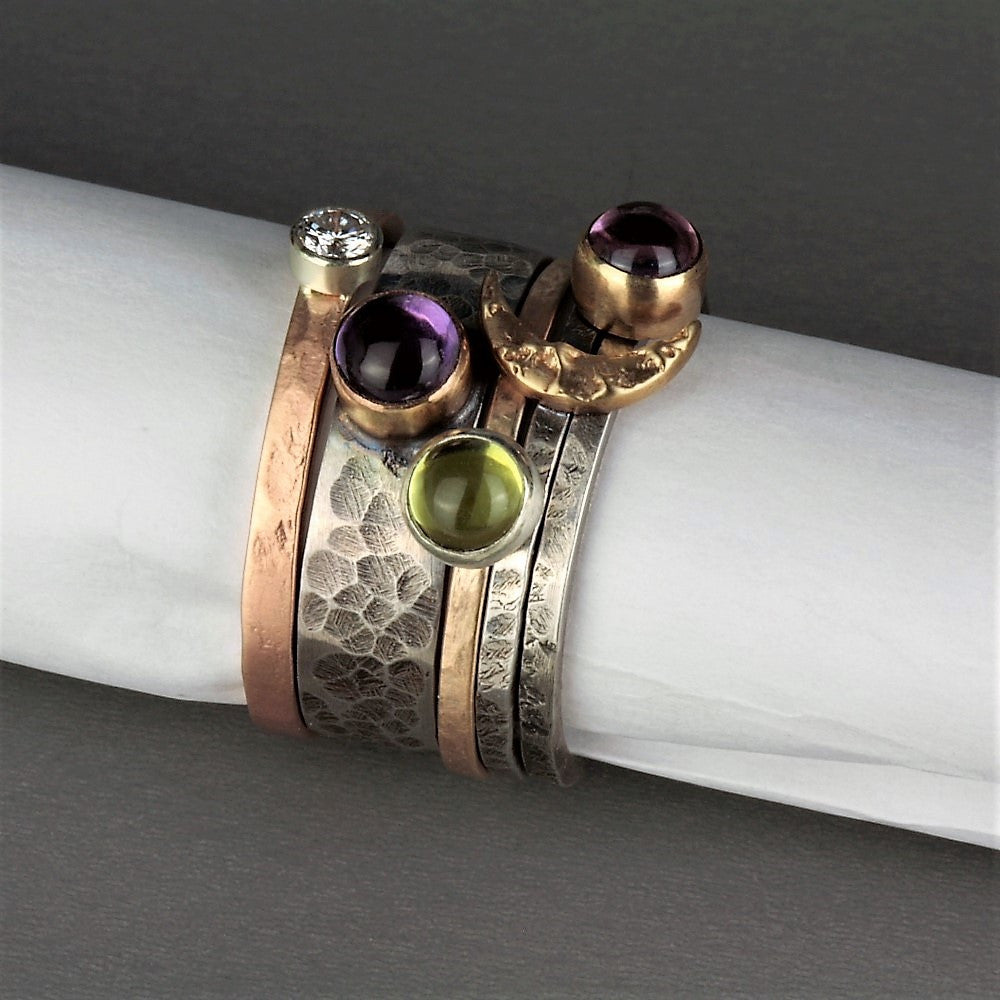 Unique designer silver and gold rustic gemstone and diamond stack