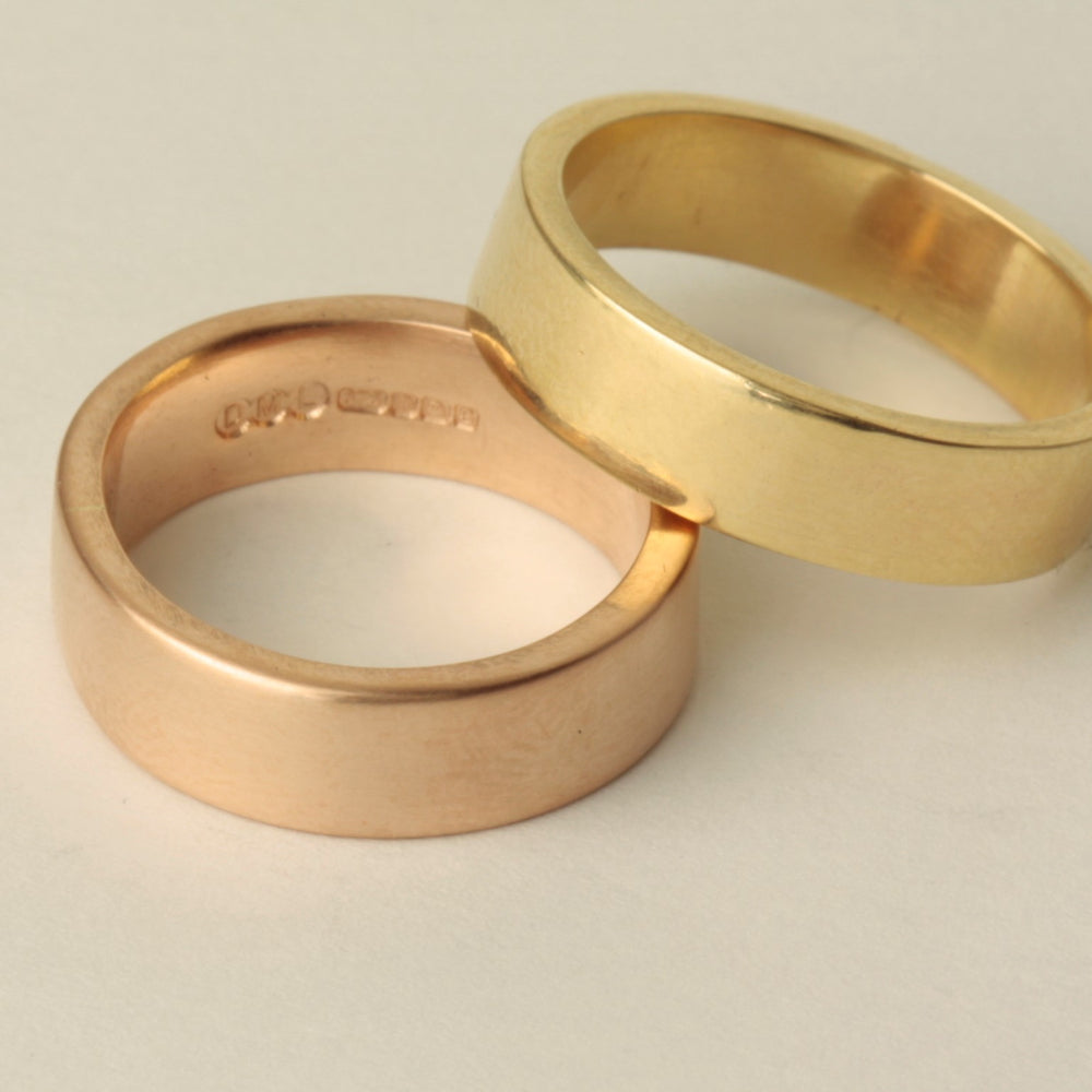 6mm wide solid gold heavy handmade gold wedding rings