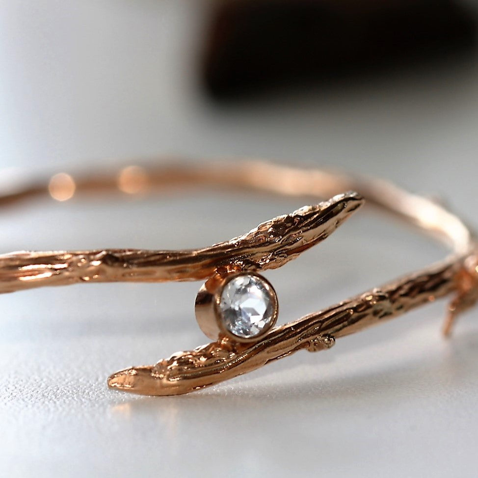 Handmade Rose Gold Twig Branch Topaz Bangle