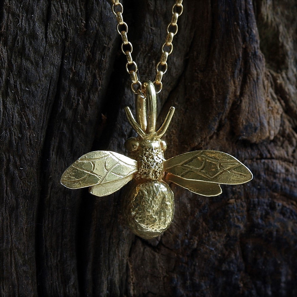 Gold bumble bee designer necklace