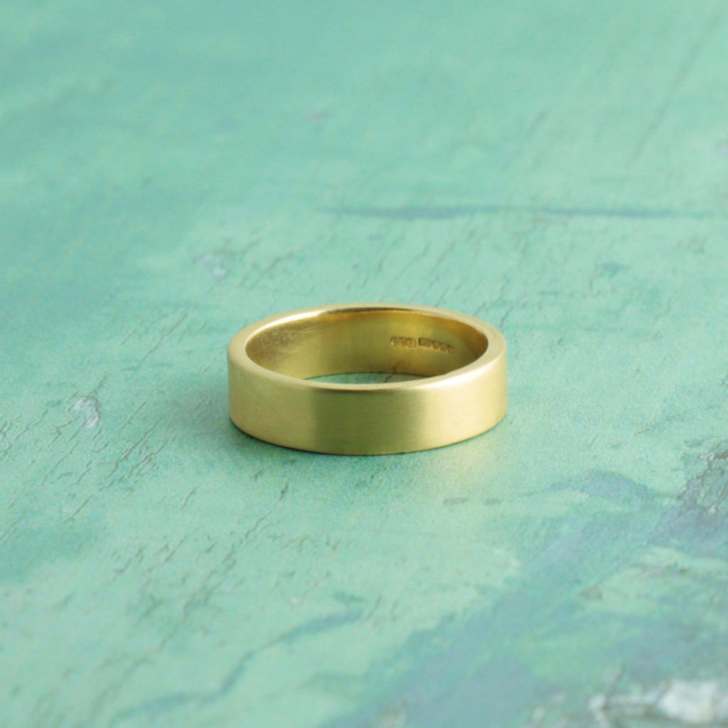 Brushed Rustic 9ct Gold Wedding Ring Band