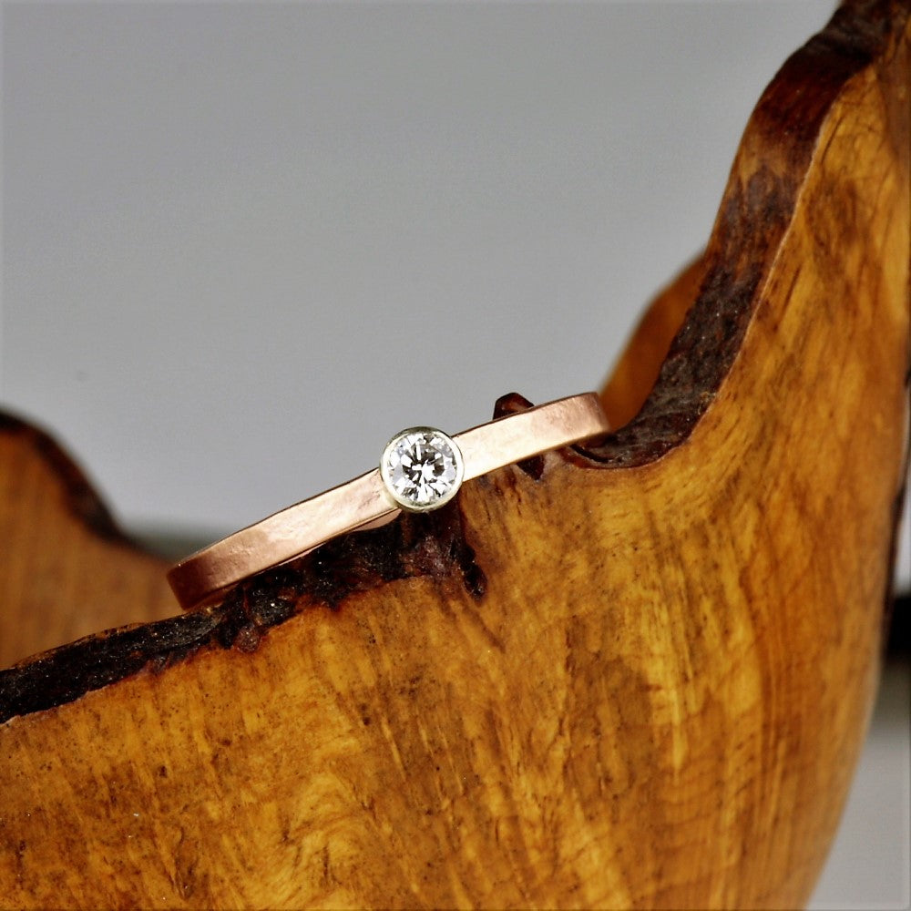 White solitaire diamond in mix rustic 9ct gold