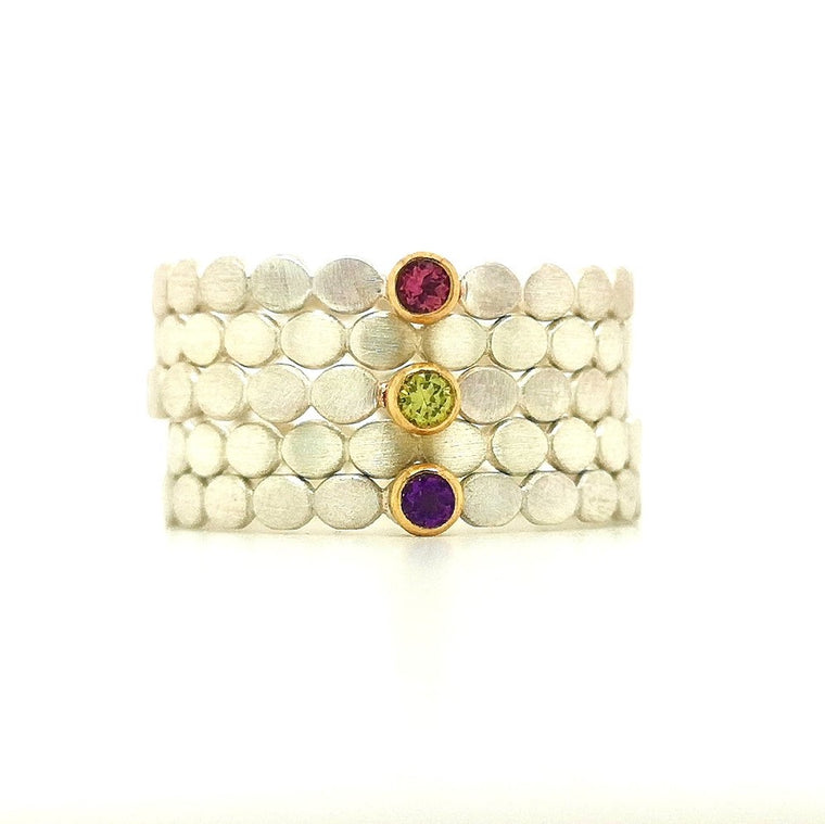 birthstone silver & 18ct gold stacking ring set