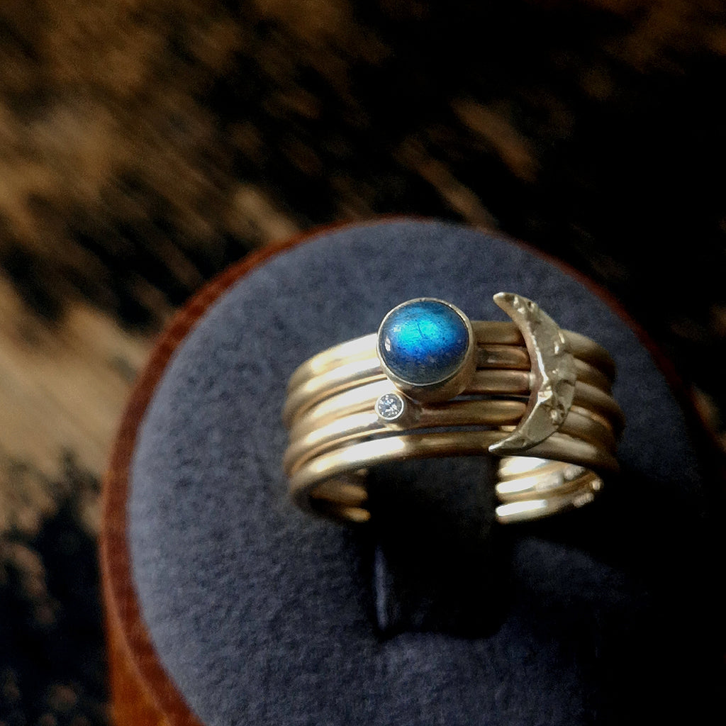 Labradorite and diamond stacking Moon ring set