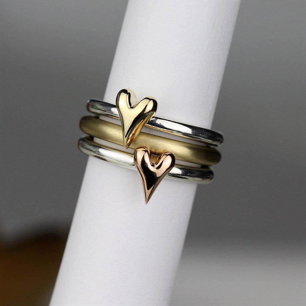 Solid Gold Heart Stacking Ring Set