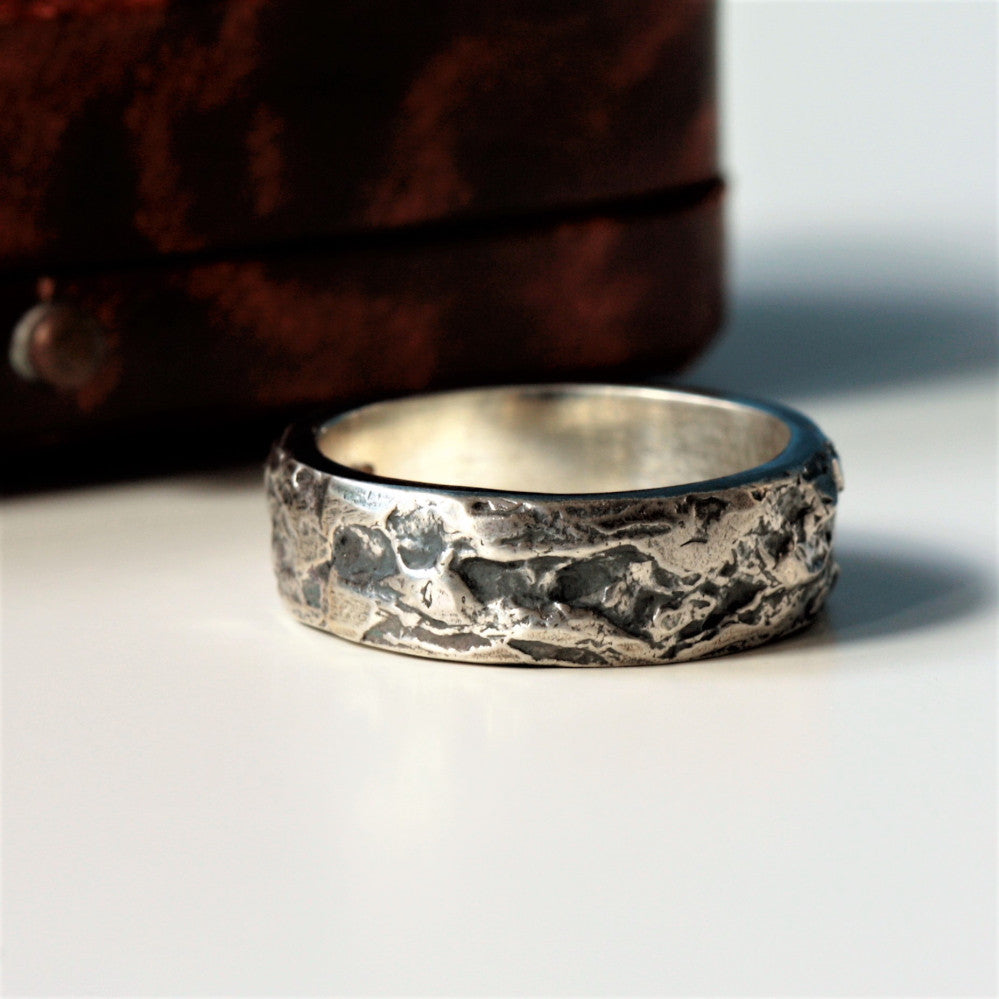 Oxidized vintage look handmade wide Treasure ring