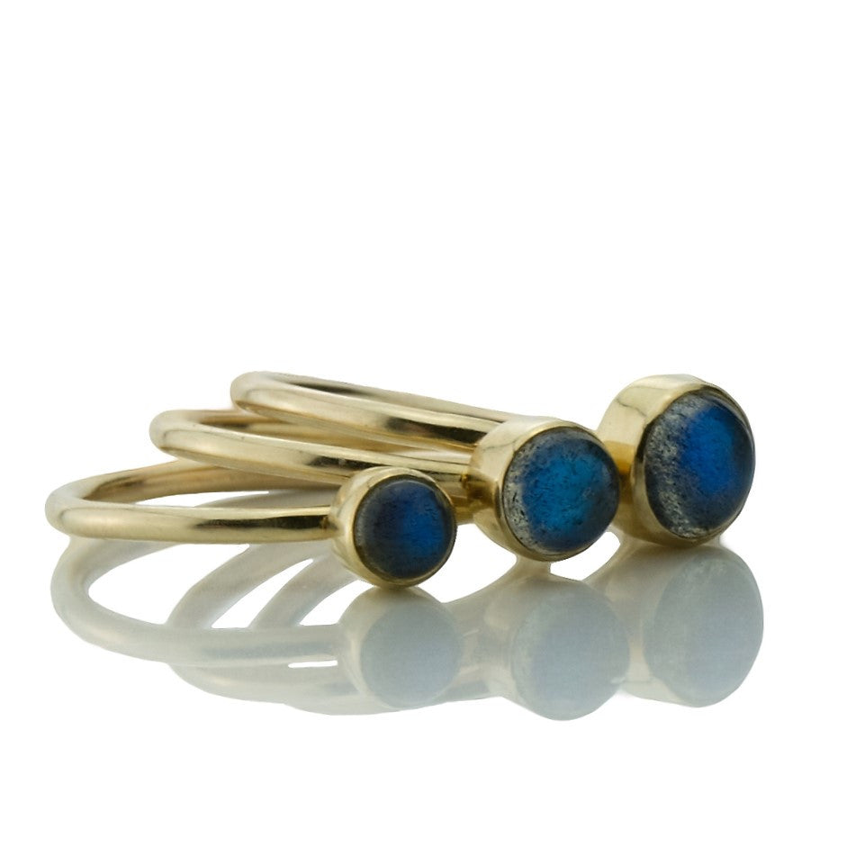 9ct solid gold magical labradorite galaxy stacking ring