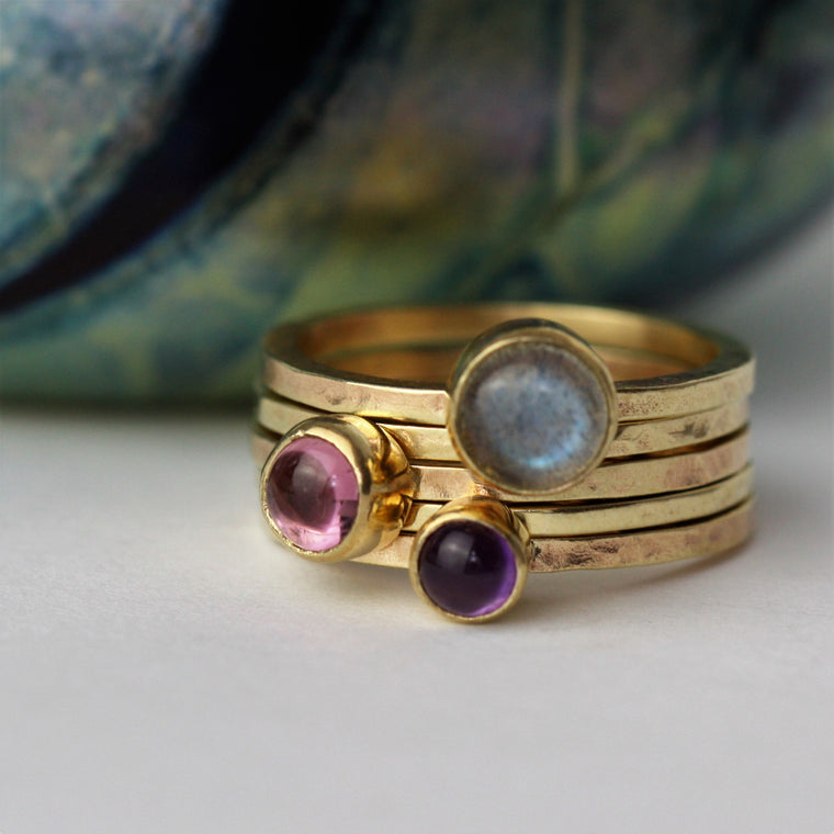 9ct Gold Labradorite, pink tourmaline and amethyst gold stacking ring