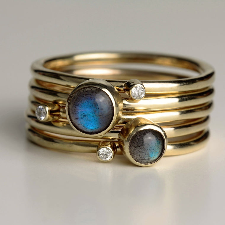 luxury diamond and magical labradorite handmade 9ct gold stacking rings