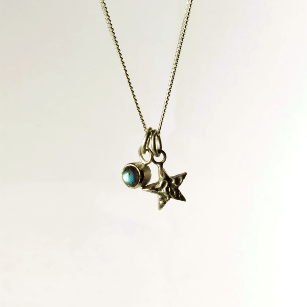 Mini silver Star and Labradorite charm necklace