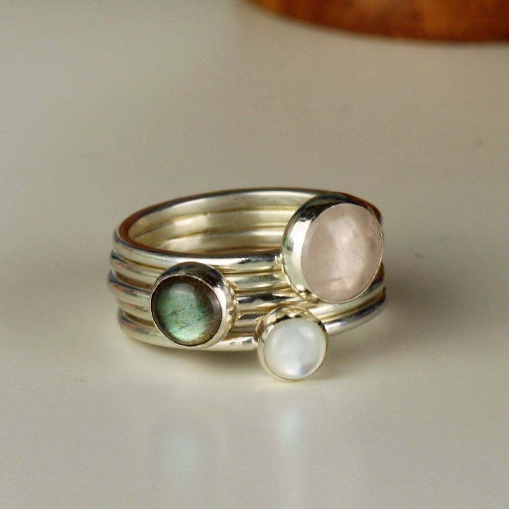 Romance sterling silver Gypsy gemstone stacking rings