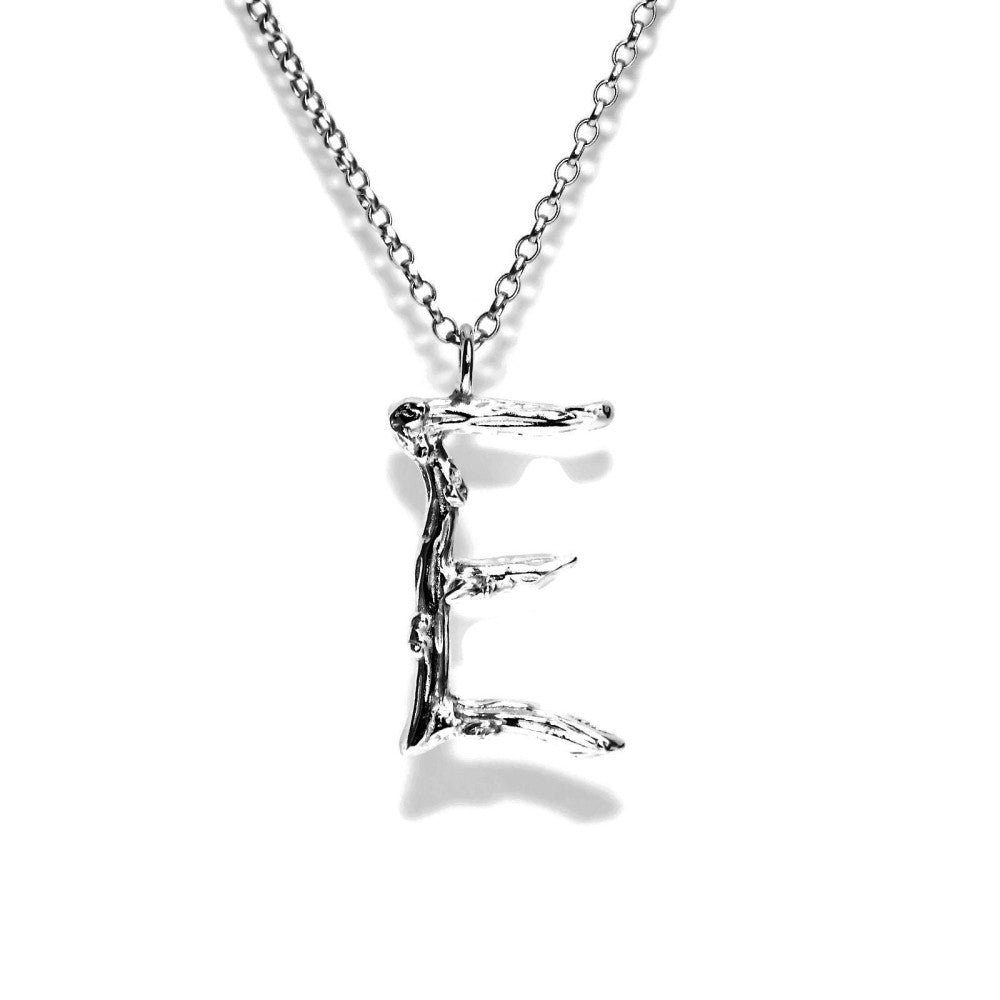 letter E twig initial long silver chain monogram necklace
