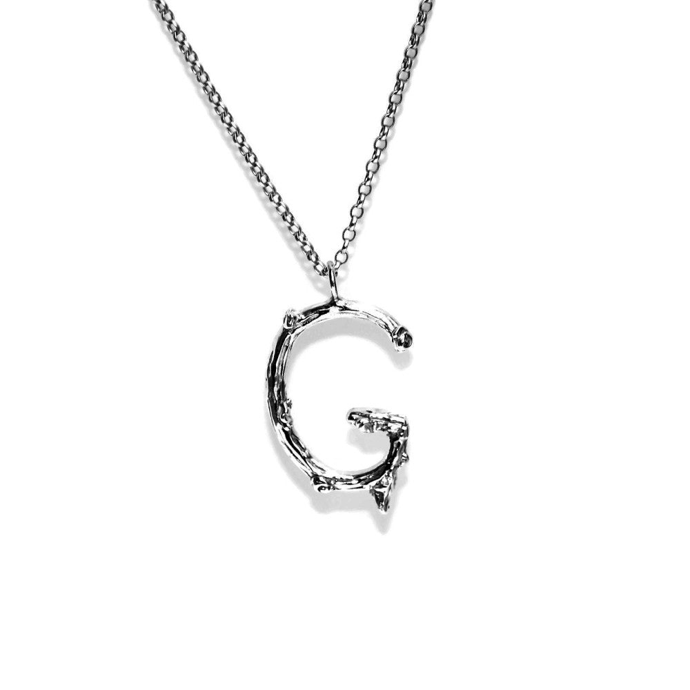 letter G twig initial long silver chain monogram necklace