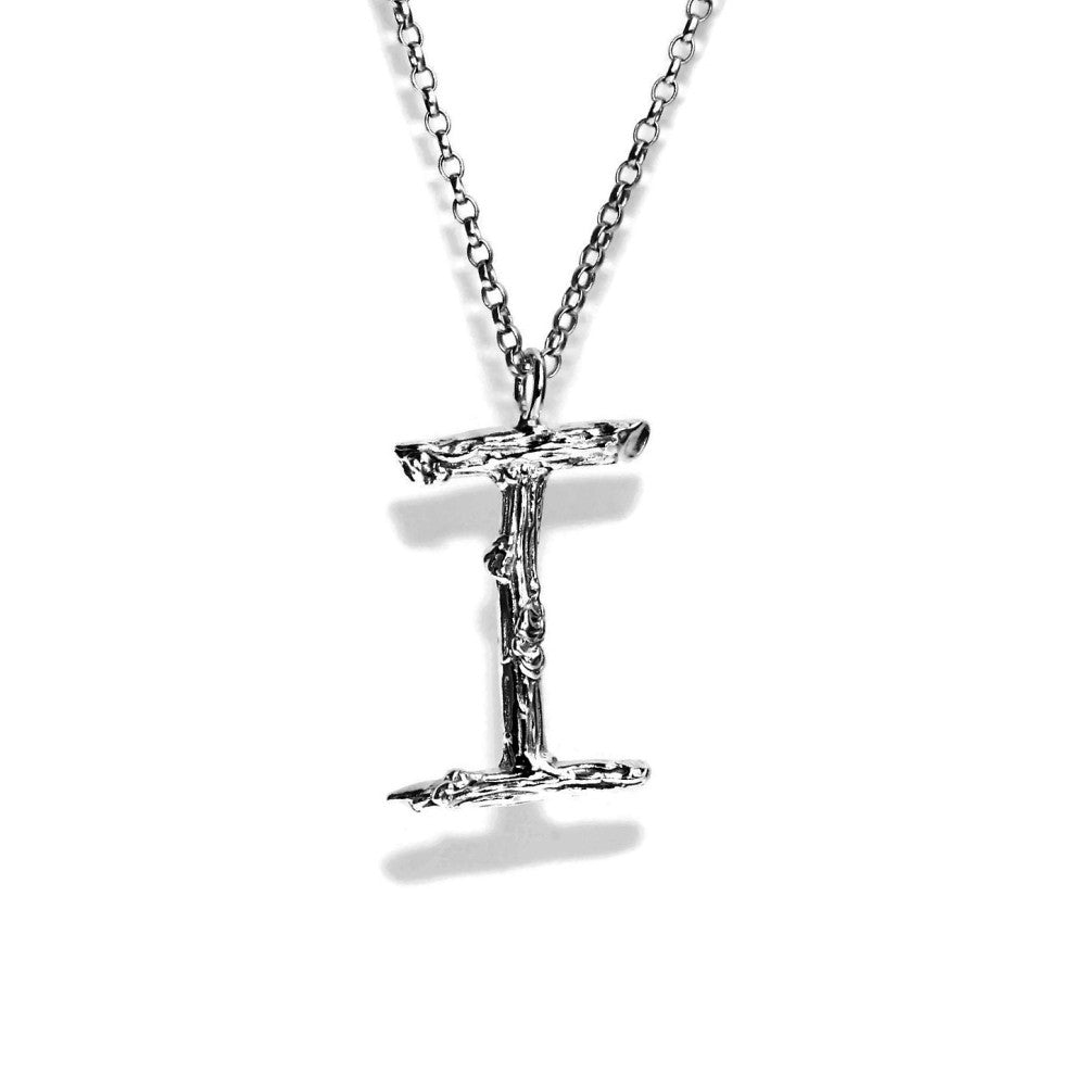 letter I twig initial long silver chain monogram necklace