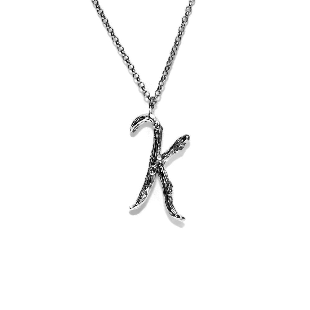 letter K twig initial long silver chain monogram necklace