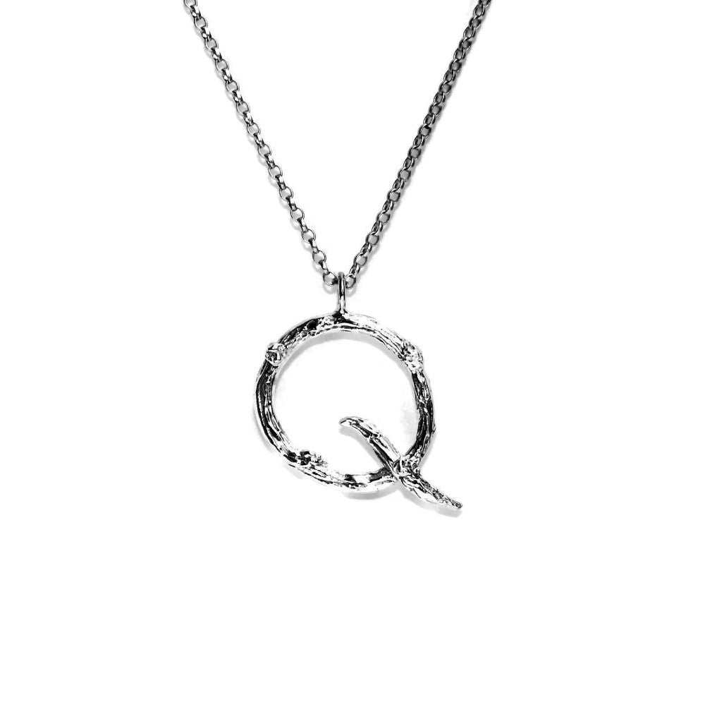 letter Q twig initial long silver chain monogram necklace