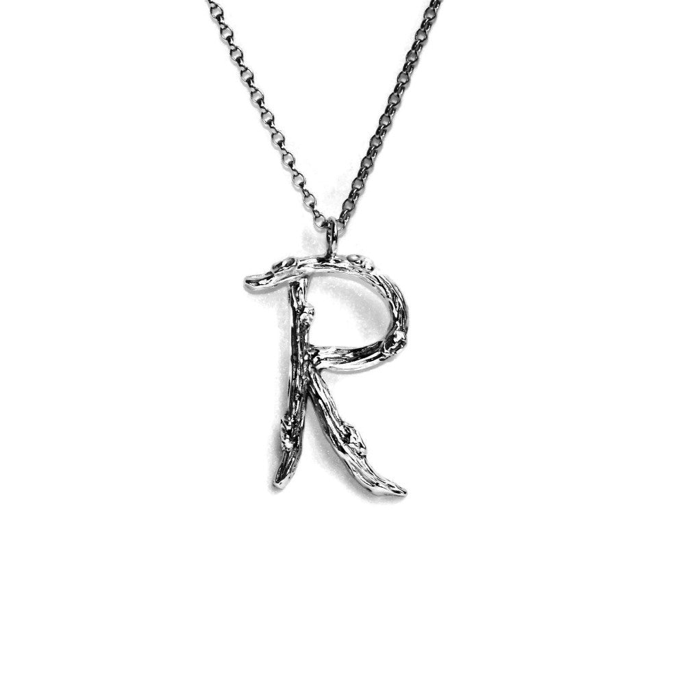 letter R twig initial long silver chain monogram necklace