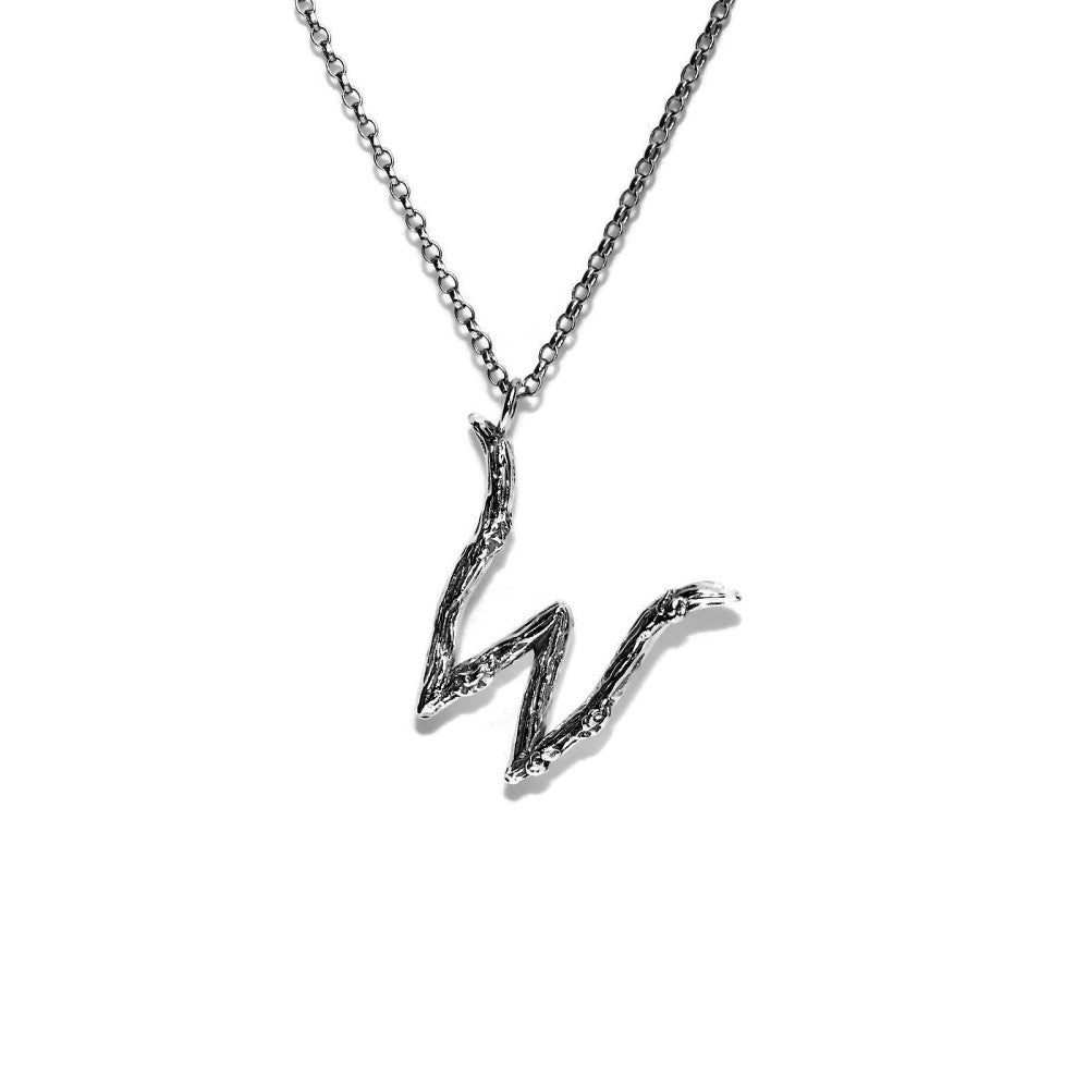 letter W twig initial long silver chain monogram necklace