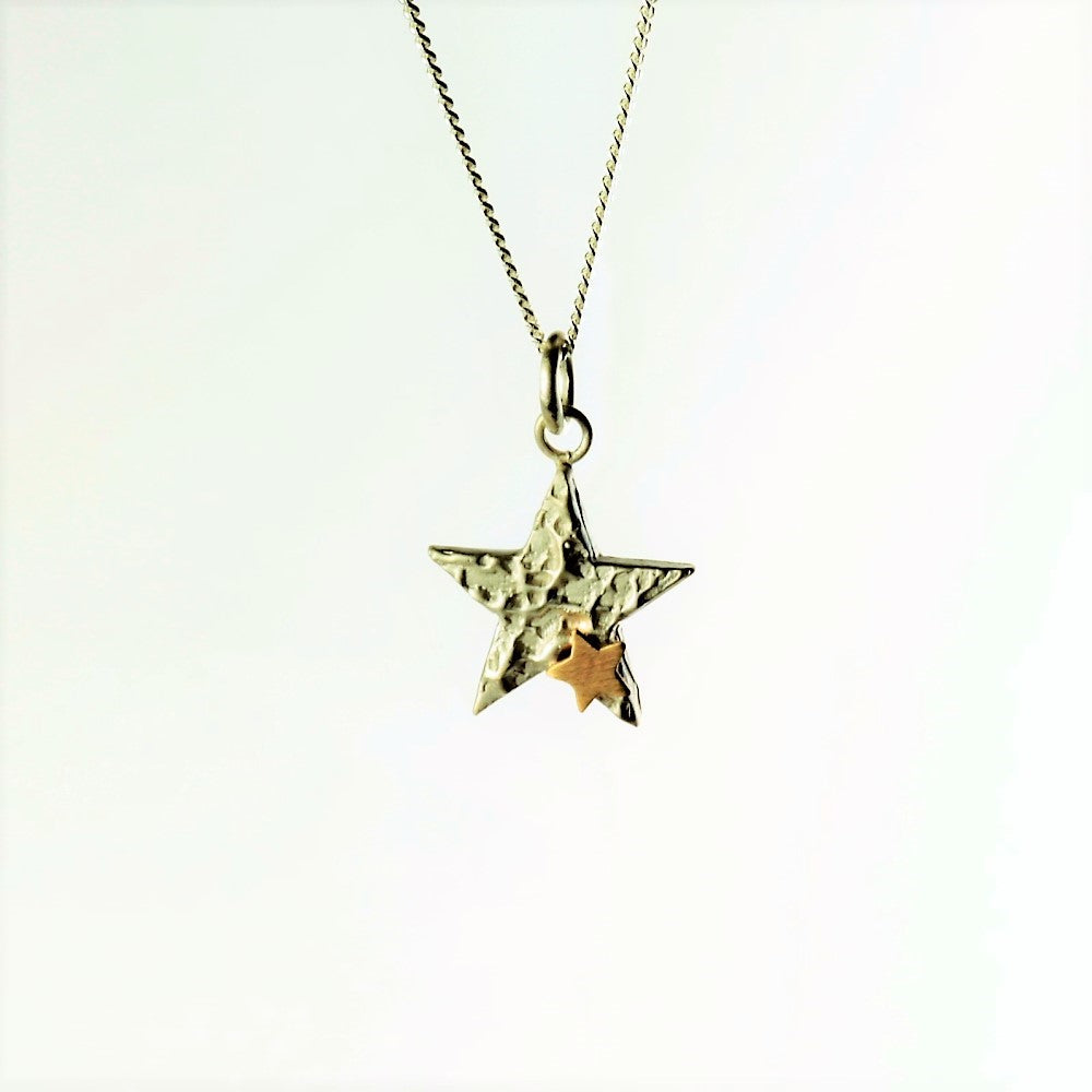 Luna Textured Star and Gold Star Necklace