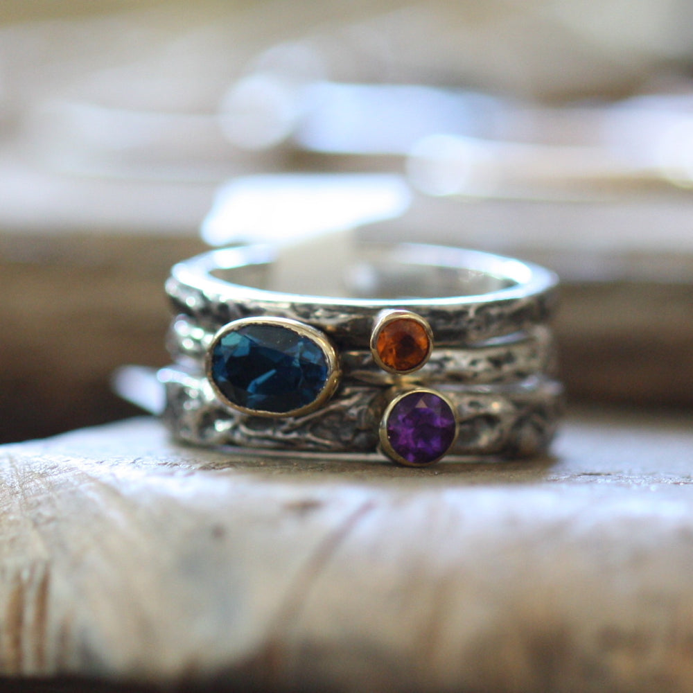Oval London Blue Topaz, Tanzanite, Mandarin Citrine textured ring