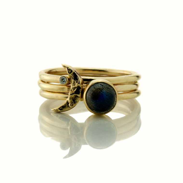 universe solid gold moon diamond and labradorite stacking rings