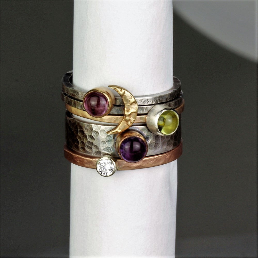 mixed metal gold and silver gemstone & moon stacking ring