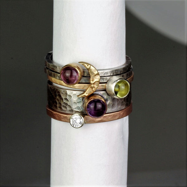 Mixed metal gemstone statement silver and gold rings