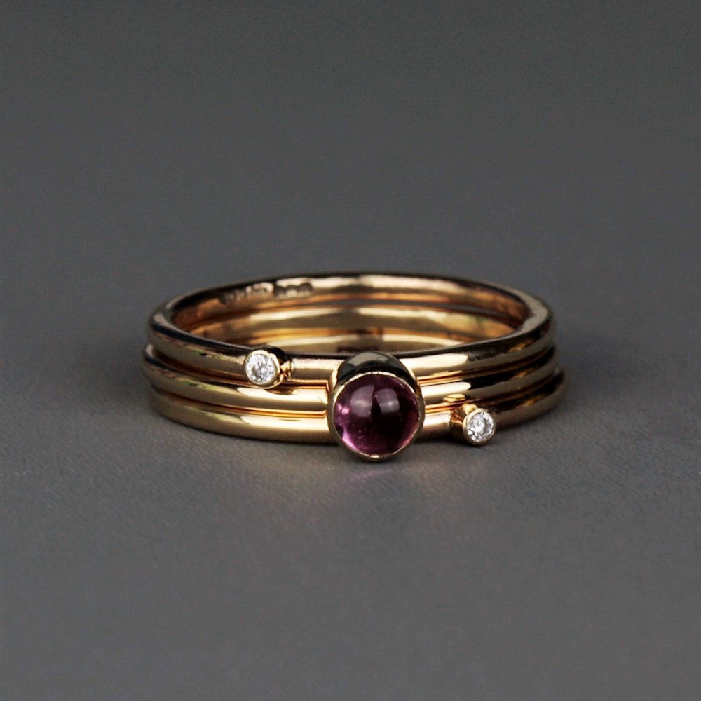 handmade wildflower diamond and tourmaline stacking rings