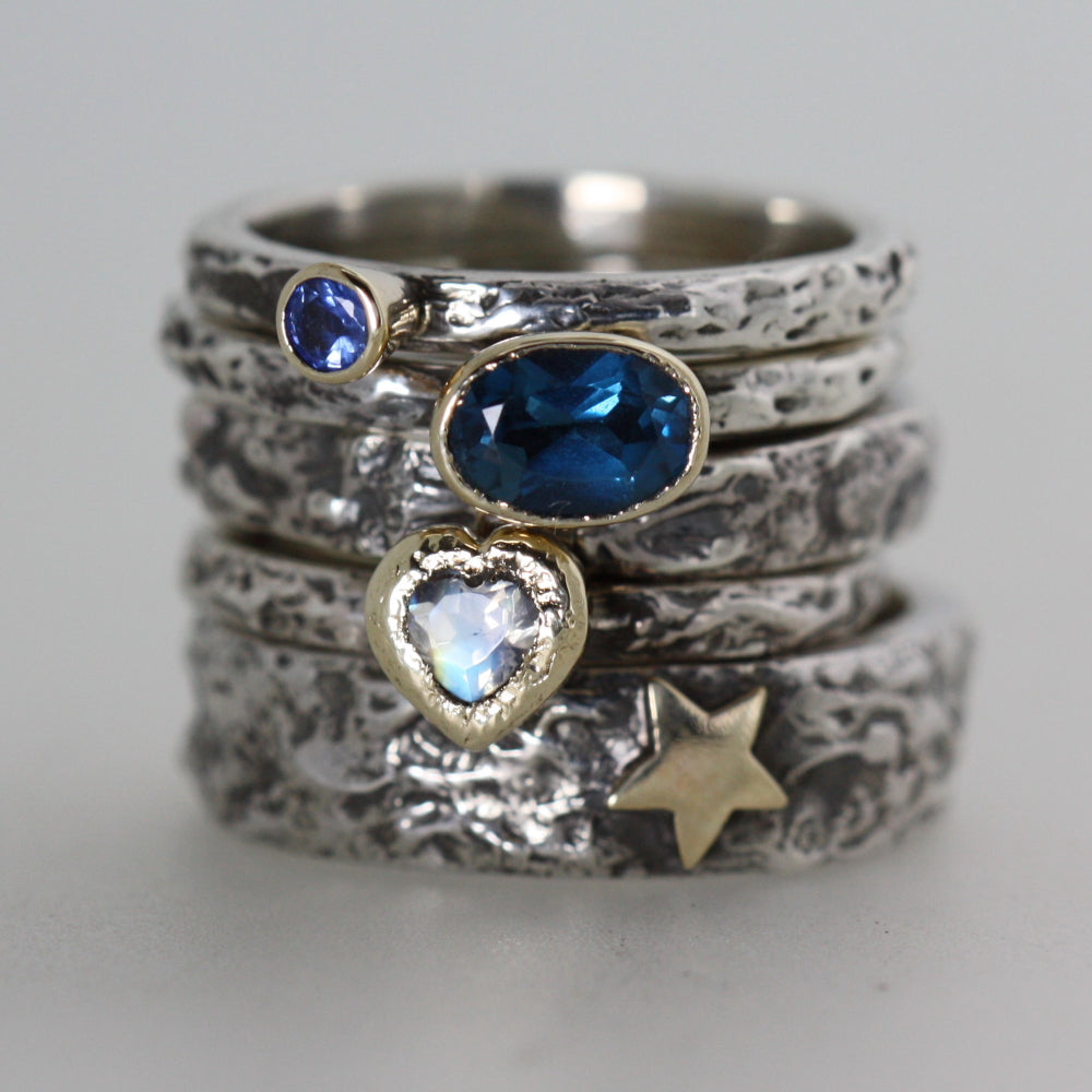 blue oval Topaz, Moonstone Heart, Gold Star, Sapphire Treasure Rings
