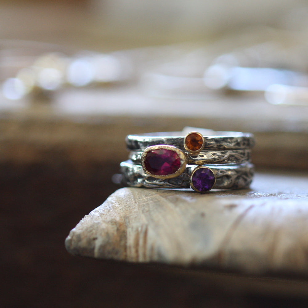 Tanzanite Tourmaline and Citrine stack rings