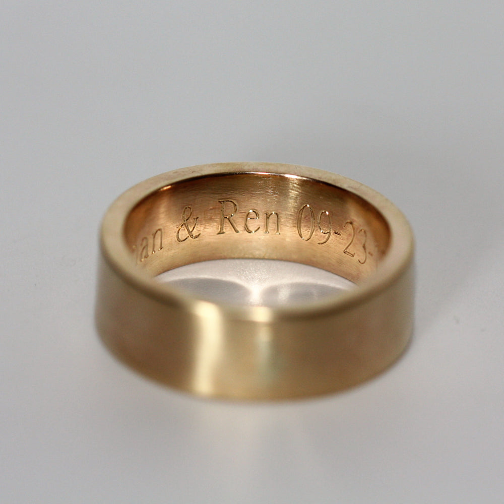 Personalised Wide Gold 8mm wedding ring band