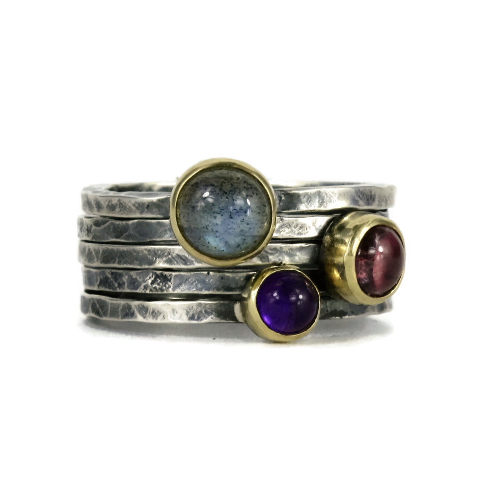 labradorite silver and gold mixed metal amethyst & tourmaline stacking rings
