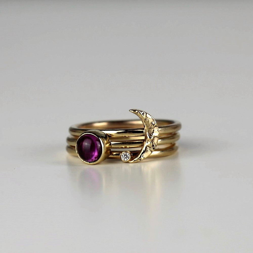 Solid gold textured Moon and Pink Wildflower Tourmaline Diamond Stacking rings