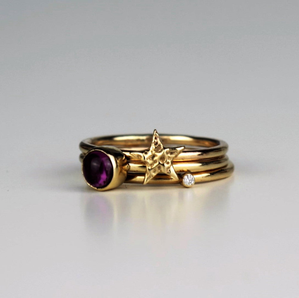 handmade designer pink tourmaline and diamond textured star stacking ring