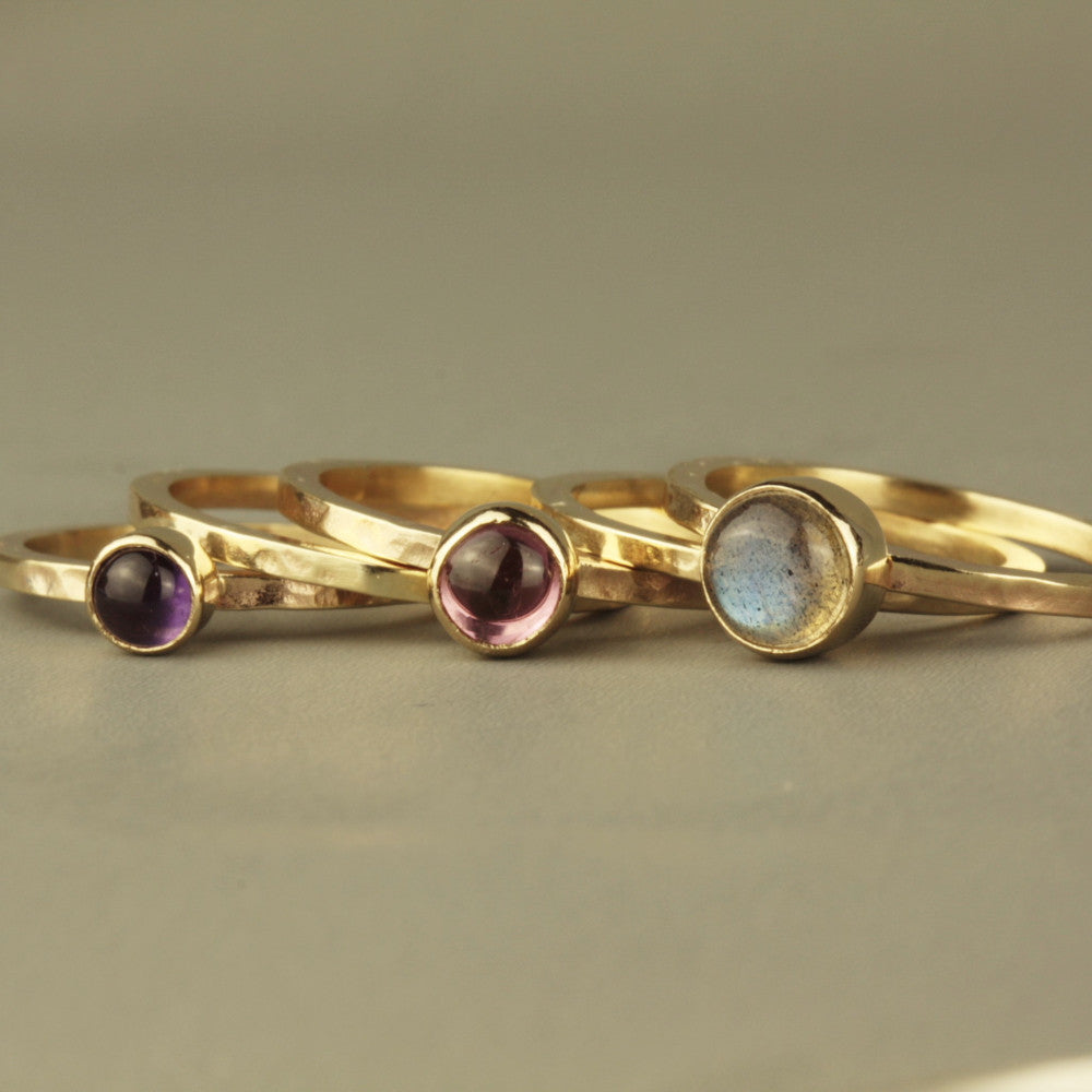 Solid 9ct gold labradorite, pink tourmaline & amethyst blossom stacking rings