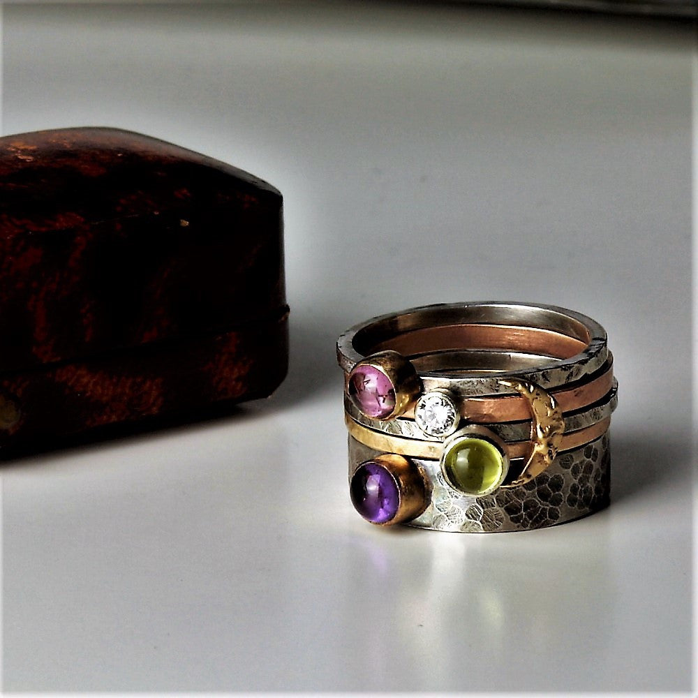 handmade unusual gemstone gold and silver stacking ring