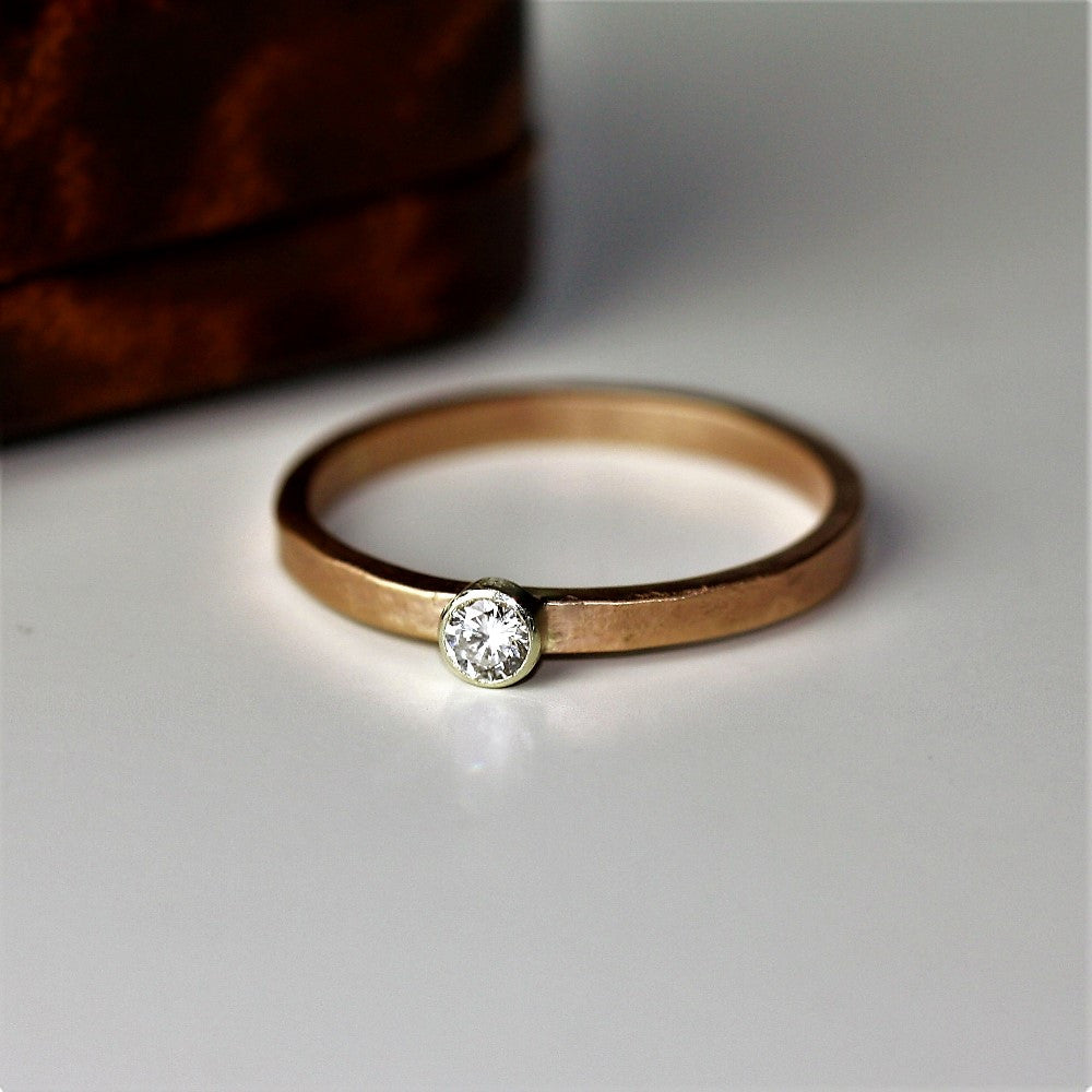 organic rose gold diamond engagement handmade ring band