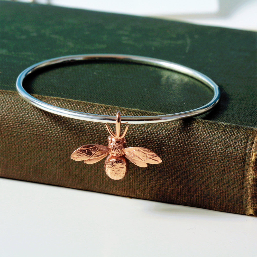 Rose gold handmade bumble bee bangle