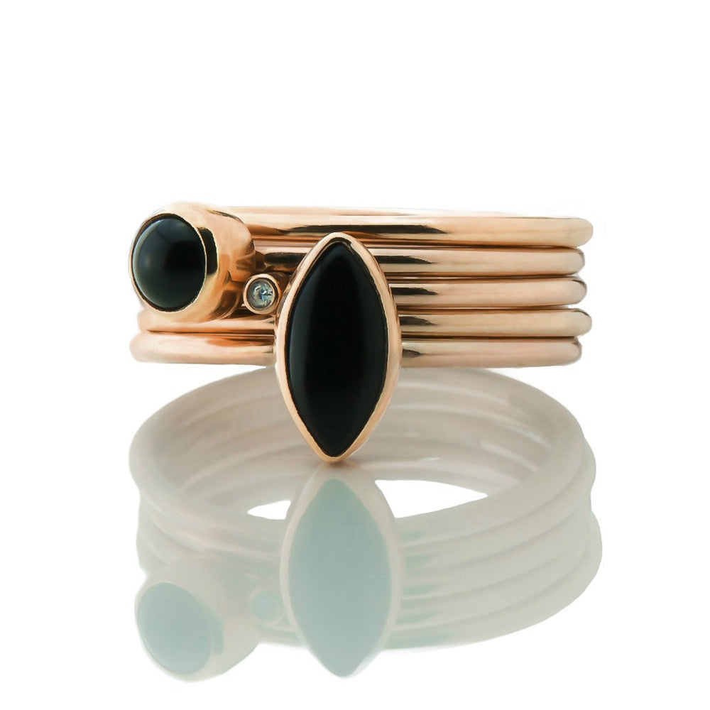Solid rose gold onyx and diamond handmade designer stacking rings